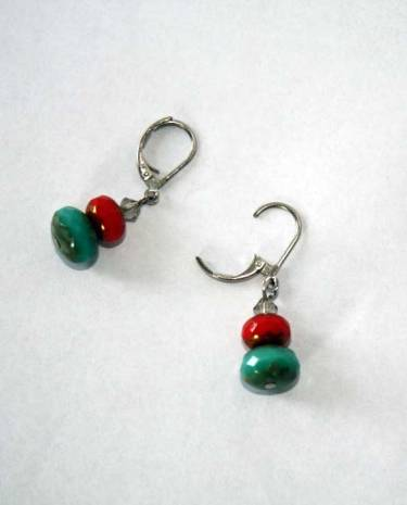 vintage turquoise and red bead dangle earrings