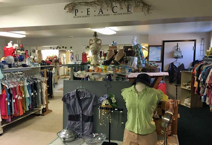 view of clothing displays in second street thrift store bowmansville pa