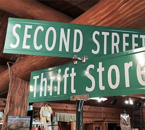 second street thrift store street sign