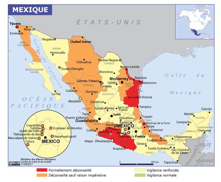 Carte Mexique Sécurité