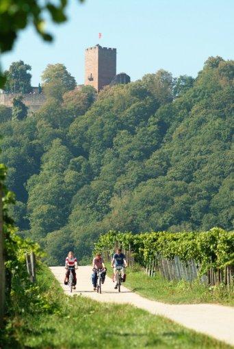 Radler vor Burg Landeck