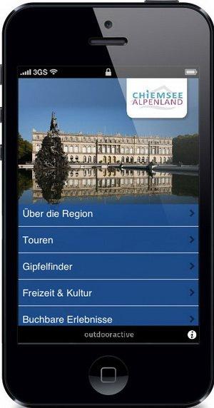 Screenshot Chiemsee-AlpenApp, Foto Chiemsee-Alpenland Tourismus