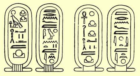 Left: The early form of the Aten's cartouches incorporating other forms of the sun god; Right: The later, more restricted form of the Aten's twin royal cartouches