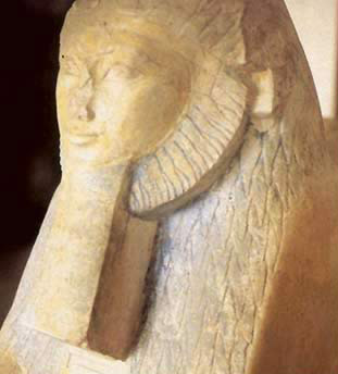 Queen Hatshepsut not only with a beard, but reprsented as a rare example of a female sphinx