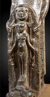 A cippi with a Bes head above the Horus Child