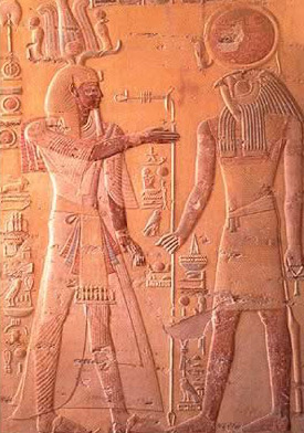 Re-Horakhty (right) and Osiris (left)
