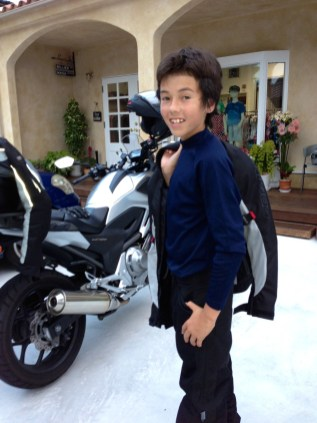 Taiga modeling his gear
