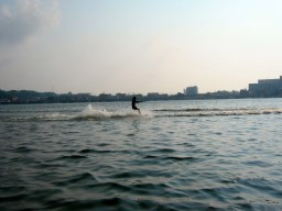 Taiga water skiing for the first time