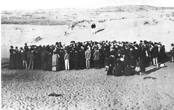 Tel Aviv - Founded on land purchased from Bedouins, north of the existing city of Jaffa. This photograph is of 1909 auction of the first lots. (Photo by Avraham Soskin)