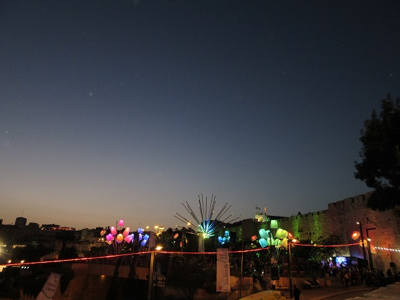 Touring Israel - jerusalem light festival 2015 blooming meadow from afar by deena levenstein