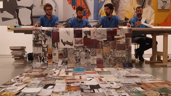 """10 men in the Israeli Art Gallery created """"textile"""" from old museum catalogues."""
