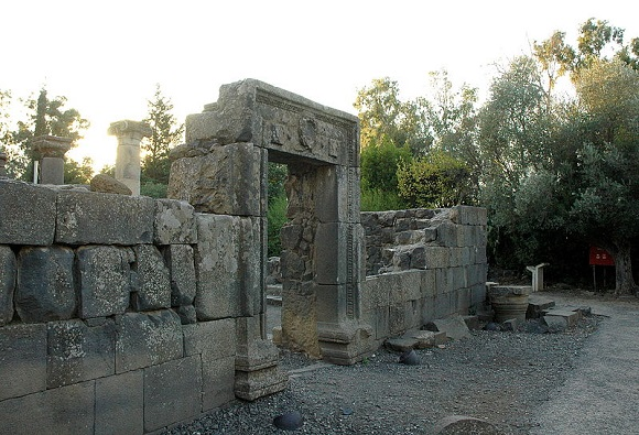 Entrance to ancient Talmudic-era synagogue, Katzrin, Golan Heights by gilabrand