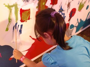 Which the kids got to colour afterwards. Here's my little one doing her own thing.