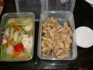 Fresh food at our doorstep! Gerry's Grill Chopsuey and Crispy Squidheads.