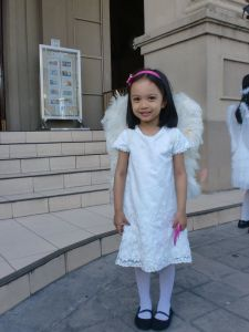 Ariadne acted as an angel during our church's Palm Sunday Mass for this year's Holy Week.