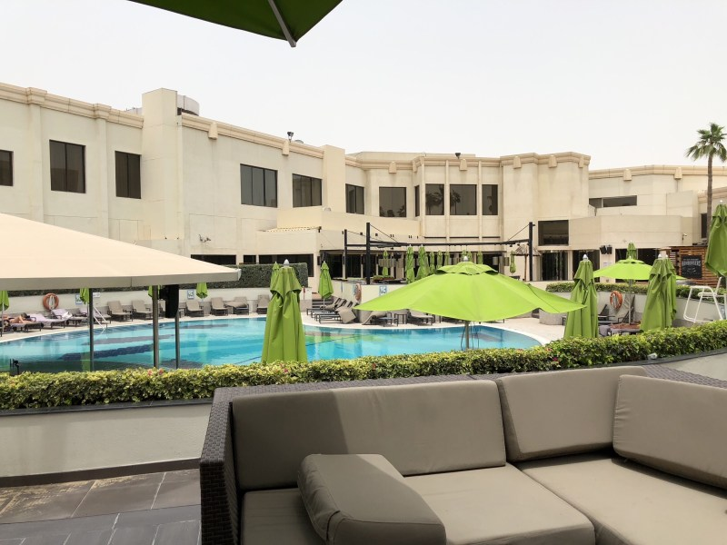 One of several pools within the compound at Le Meridien DXB