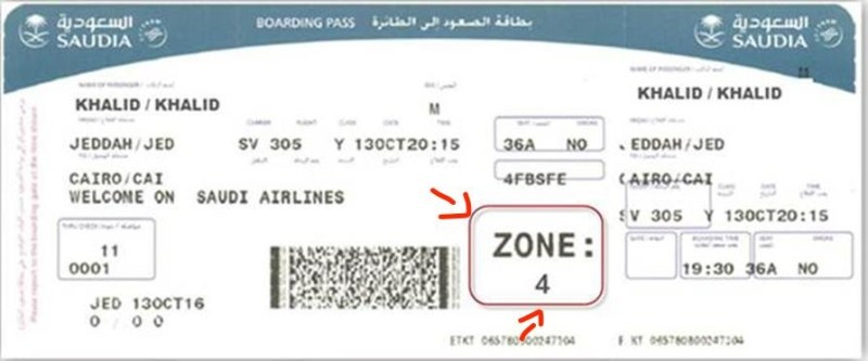 Boarding Zone Example from Saudia Airlines