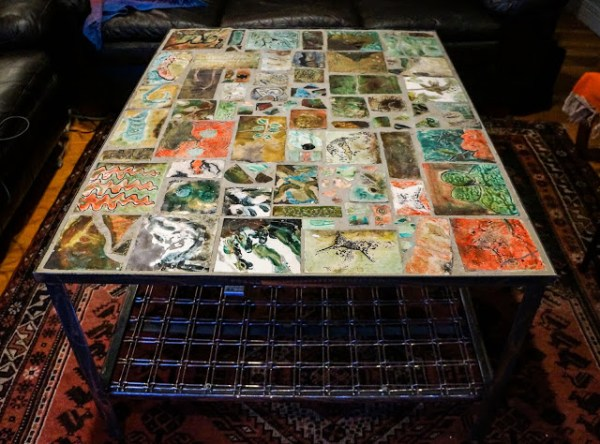 Raku tiled table made by Bonnie Henning