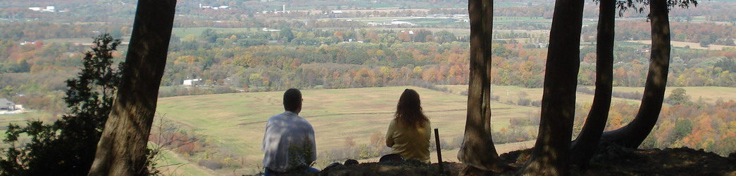 Hikers overlooking the Niagara Escarpment
