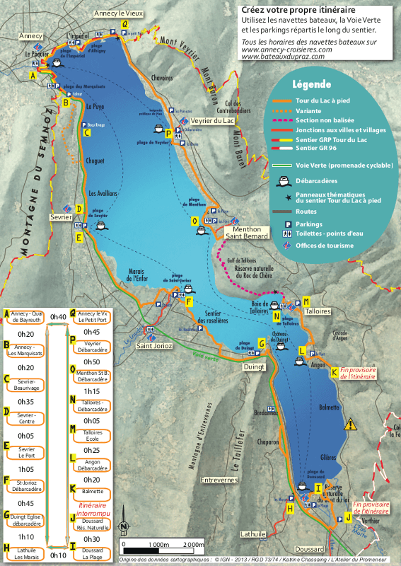 carte annecy et ses alentours Tour du lac à pied – Tourisme Annecy