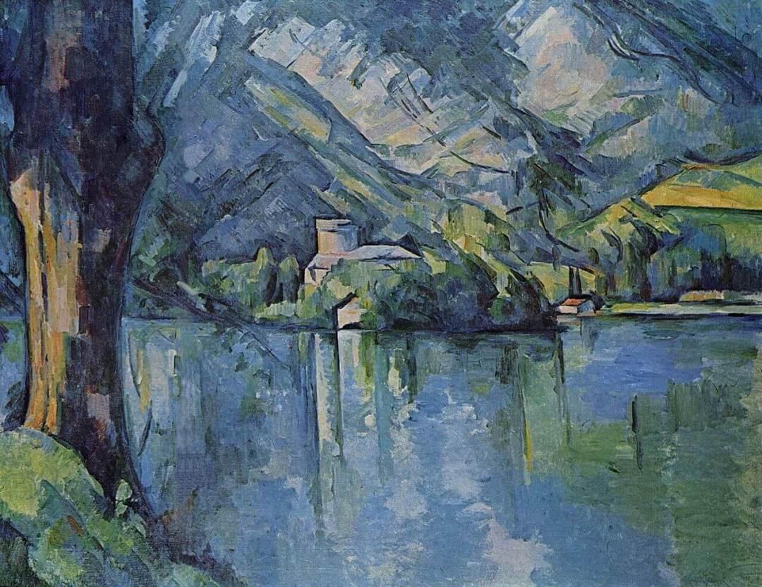 tableau de Cézanne montrant le lac d'Annecy