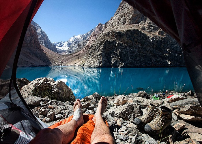 amazing view from the tent mountains