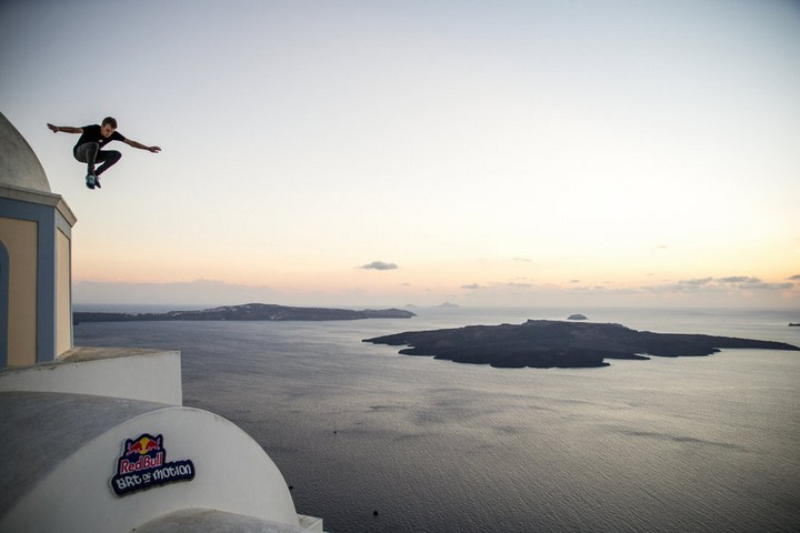 Dante Grazioli of USA performs during the preshoot for the Red Bull Art Of Motion on Santorini island, Greece on September 29th, 2015