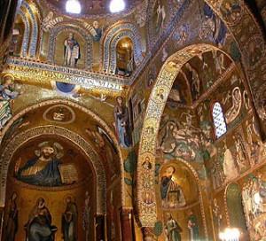 Particolare della cappella palatina all'interno del palazzo dei Normanni di Palermo