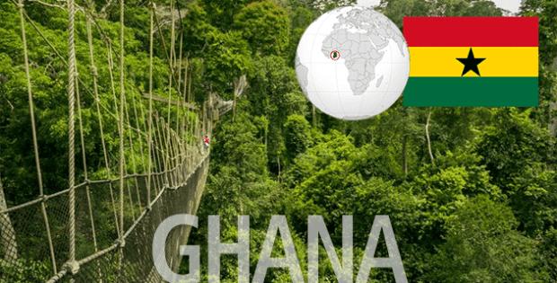 Ghana image with world map and flag