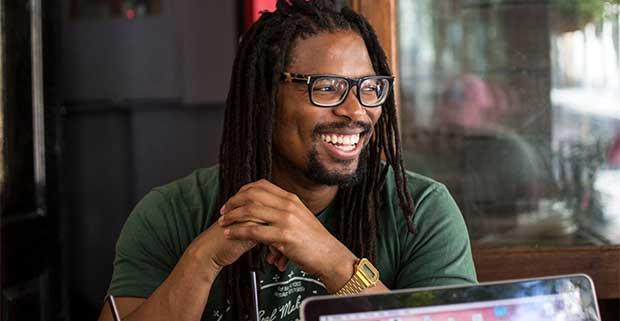 Avukile Mabombo at a coffee shop