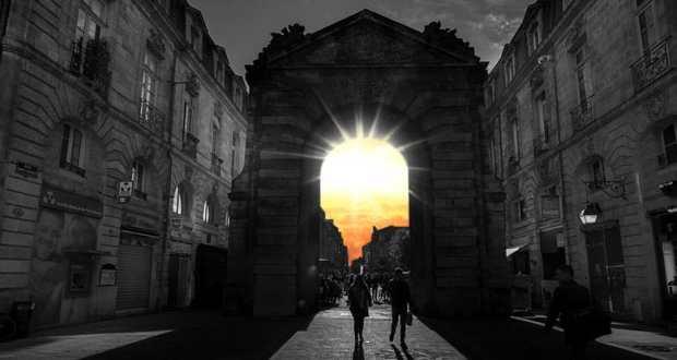 Sunset through archway