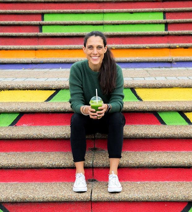 Catherine Morris sitting on steps