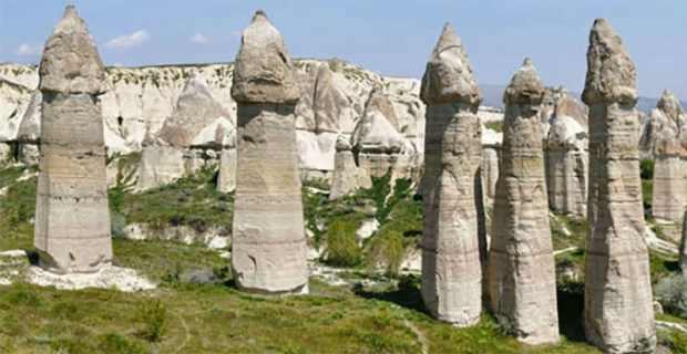 Love Valley sandstone spires in Turkey