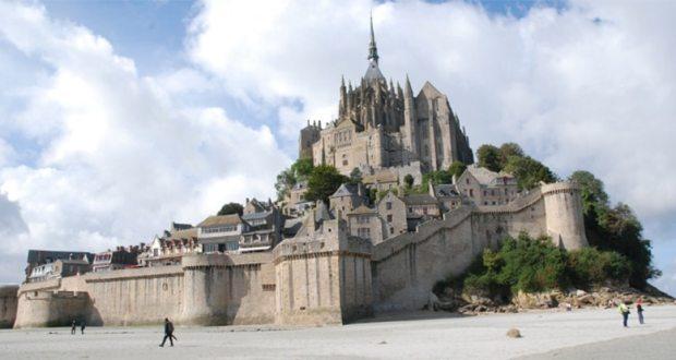 Castle on an island in France