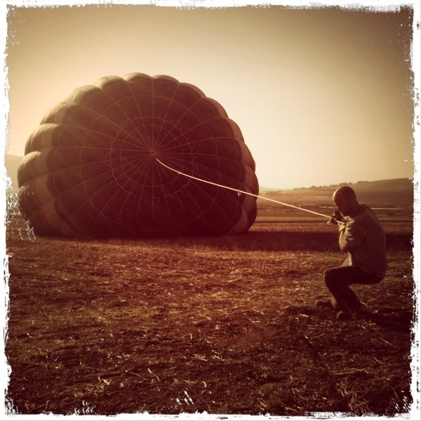 Preparing for a balloon flight