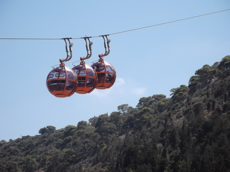 The Haifa Cable Cars rising up Mount Carmel
