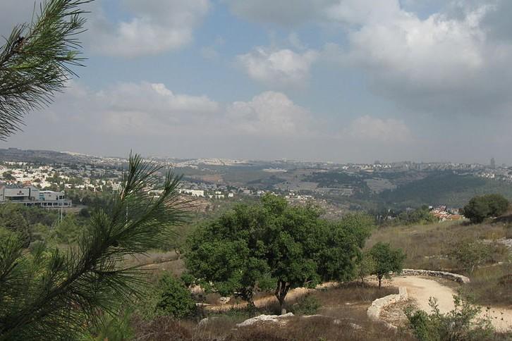 The landscape of the Jerusalem Hills surrounding Kastel Fortress