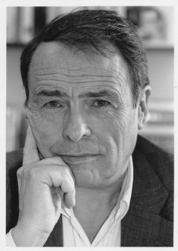 Black and white photograph of sociologist Pierre Bourdieu