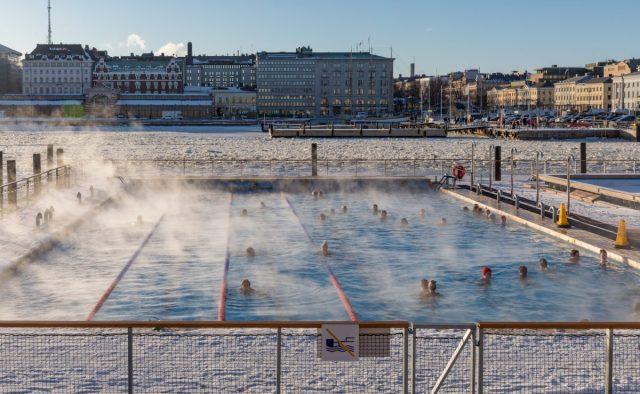 Finnish sea pool and sauna during Helsinki winter