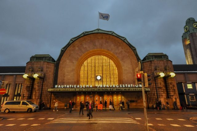 Oldest Classic Brown Green Helsinki Central Railway Station