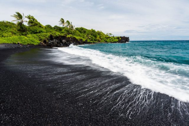 Black sand beaches in Hawaii