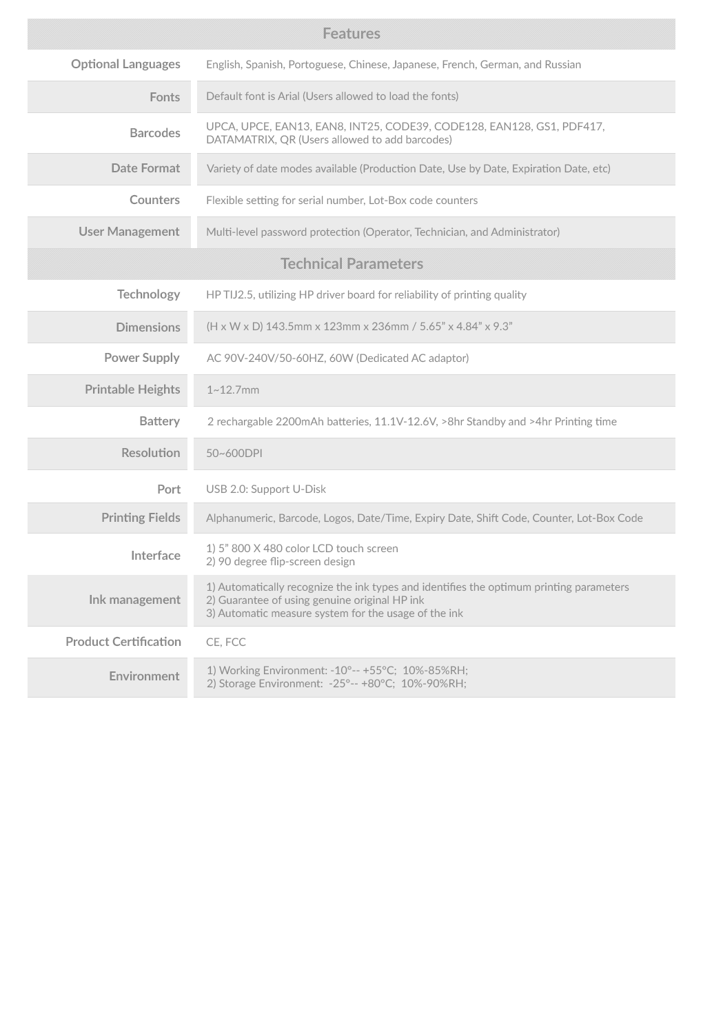 Specifications Table E100H - Sojet Elfin-1H