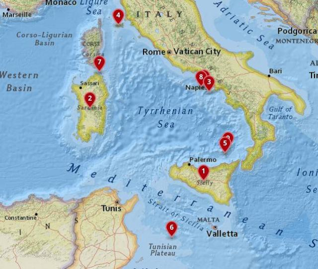Map Of The Most Beautiful Islands In Italy