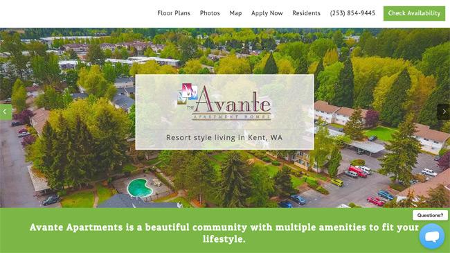 apartment website design. Avante Apartments Website Apartment Design