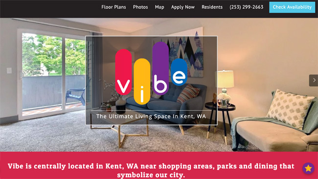 apartment website design. Vibe Apartment Website Design P