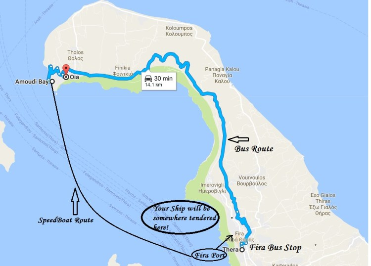 Port to Oia Route