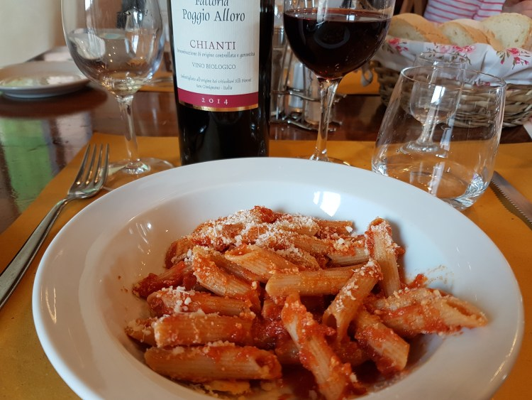 Pasta in Tomato Sauce with Mature Parmesan Shavings and some Chianti