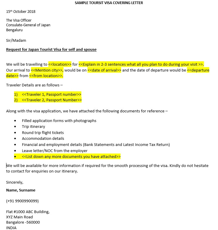 sample visa cover letter