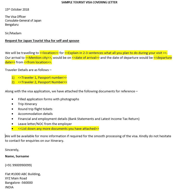 Sample Visa Cover Letter