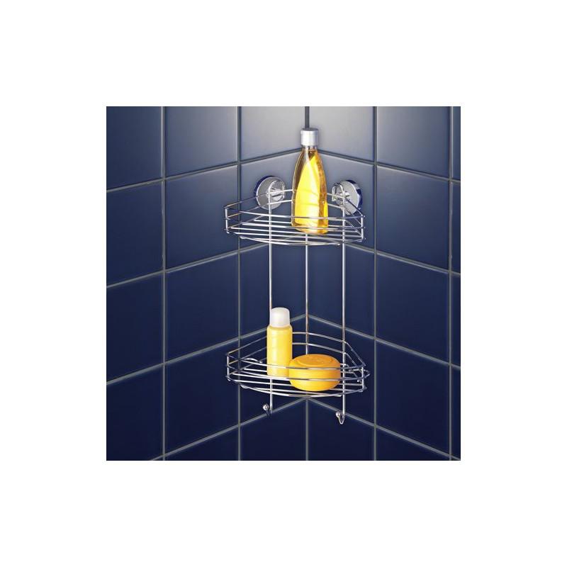etagere d angle 2 niveaux pour salle de bain